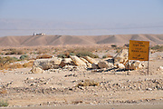 The Jordanian border. Jordanian guard station in the background. Photographed at Faran in the Arava desert, Israel