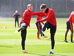 MANCHESTER, ENGLAND - Wednesday, March 16, 2016: Manchester United's Bastian Schweinsteiger and Michael Carrick during a training session at Carrington Training Ground ahead of the UEFA Europa League Round of 16 2nd Leg match against Liverpool. (Pic by David Rawcliffe/Propaganda)
