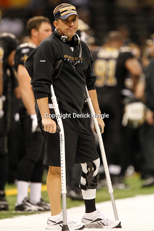 November 28, 2011; New Orleans, LA, USA; New Orleans Saints head coach Sean Payton against the New York Giants during the second half of a game at the Mercedes-Benz Superdome. The Saints defeated the Giants 49-24. Mandatory Credit: Derick E. Hingle-US PRESSWIRE
