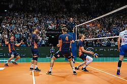 12-05-2019 NED: Abiant Lycurgus - Achterhoek Orion, Groningen<br /> Final Round 5 of 5 Eredivisie volleyball, Orion wins Dutch title after thriller against Lycurgus 3-2 / Last ball of the match Joris Marcelis #4 of Orion scores 3-2. Twan Wiltenburg #9 of Orion, Shalev Saada #5 of Orion, Wessel Anker #2 of Orion