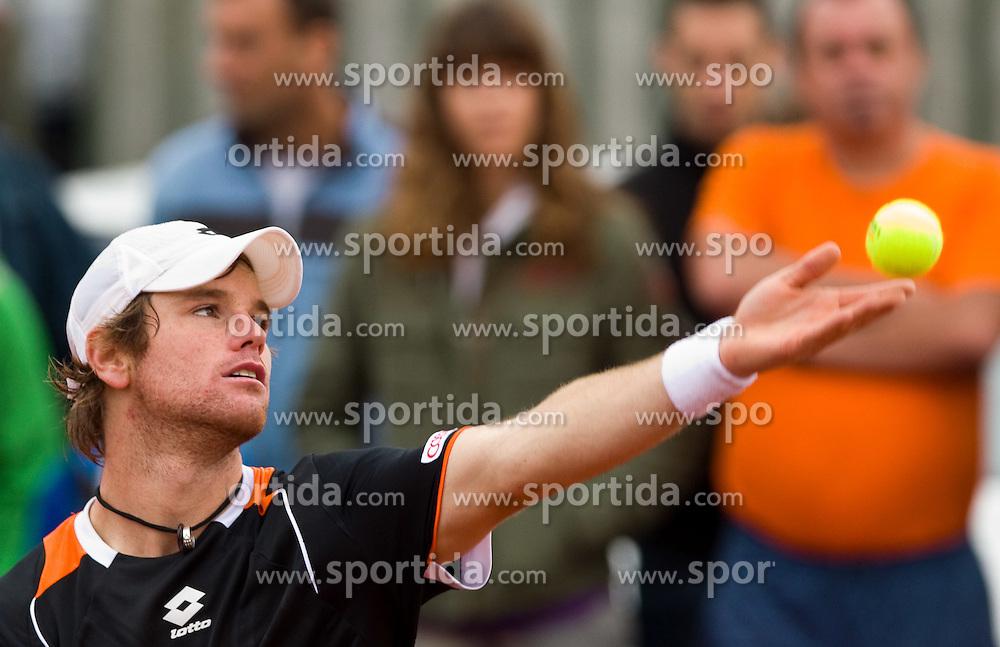 Blaz Kavcic of Slovenia  plays in final match against David Goffin of Belgium during day five of the ATP Challenger  BMW Ljubljana Open 2010, on September 26, 2010,  in TC Ljubljana Siska, Slovenia.  (Photo by Vid Ponikvar / Sportida)