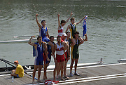 Ottensheim, AUSTRIA.  A  Final,  Men's coxed pair, medals, left Silver RA M2=, centre CAN m@+ and right AUS M2+, at the 2008 FISA Senior and Junior Rowing Championships,  Linz/Ottensheim. Sunday,  27/07/2008.  [Mandatory Credit: Peter SPURRIER, Intersport Images] Rowing Course: Linz/ Ottensheim, Austria