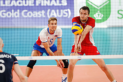 20170617 NED: FIVB Volleybal World League 2017 The Netherlands - Slovakia: Den Haag <br />Matej Kubs (5) of Slovakia, Marcel Lux (10) of Slovakia <br />©2017-FotoHoogendoorn.nl / Pim Waslander