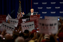 Republican presidential nominee Donald Trump greets the crowd after delivering a speech to a crowd in Aston, Pennsylvania.