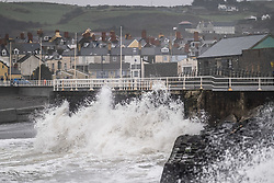 © Licensed to London News Pictures.<br /> Aberystwyth UK  03/03/2019.  The leading edge of Storm Freya, the latest named storm to hit the UK, strikes  Aberystwyth on Sunday morning. The Met Office has issued a yellow warning for much of the western parts of the UK, with gusts of  wind between 60 and 70mph forecast for exposed Irish Sea coasts later in the day and overnight, with the risk of damage to property and injuries to people from flying debris. Photo credit: Keith Morris / LNP