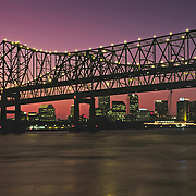 Louisiana, New Orleans, Skyline, Crescent City Bridge And Mississippi River At Sunset