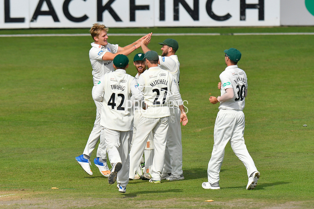 Dillon Pennington of Worcestershire celebrates taking the wicket of Rory Burns of Surrey during the final day of the Specsavers County Champ Div 1 match between Worcestershire County Cricket Club and Surrey County Cricket Club at New Road, Worcester, United Kingdom on 13 September 2018.