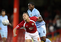 Photo: Rich Eaton.<br /> <br /> Bristol City v Manchester City. Carling Cup. 29/08/2007. Man City's Nedum Onuoha (r) and Lee Trundle clash.