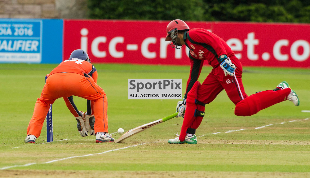 The T20 qualifiers in Scotland were back at Myreside Cricket Ground for the match between teh Netherlands v Oman. Jatinder Singh avoids a run out by Wesley Barassi.<br /> <br /> Ger Harley SportPix.org.uk 14 July 2015