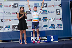 Megan Guarnier (USA) of Boels-Dolmans Cycling Team retains her UCI Women's World Tour overall leader's jersey after the 121.5 km road race of the UCI Women's World Tour's 2016 Grand Prix Plouay women's road cycling race on August 27, 2016 in Plouay, France. (Photo by Balint Hamvas/Velofocus)