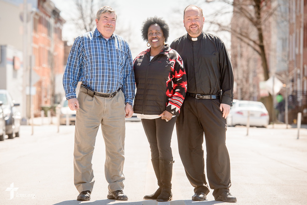 Portrait of George Bresnick, Betty Bland-Thomas, an expert in community redevelopment, and the Rev. Elliott Robertson, pastor of Martini Lutheran Church, on Saturday, March 24, 2018, in Baltimore. LCMS Communications/Erik M. Lunsford