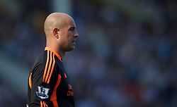 LIVERPOOL, ENGLAND - Saturday, October 1, 2011: Liverpool's goalkeeper Jose Reina in action against Everton during the Premiership match at Goodison Park. (Pic by David Rawcliffe/Propaganda)