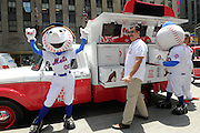 Baseball great Keith Hernandez celebrates the launch of the Good Humor Welcome to Joyhood campaign with Mr. and Mrs. Met in New York, Thursday, June 25, 2015. Follow @GoodHumor on Twitter as the Joy Squad travels to other cities this summer. (Photo by Diane Bondareff/AP Images for Good Humor)