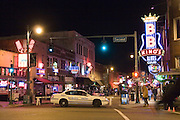 Memphis Tennessee TN, USA, night shot of Beale street with the famous music clubs. B.B. King's night club is on the right