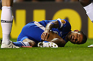 Matheus Nascimento of Dnipro Dnipropetrovsk lays injured during the UEFA Europa League match at White Hart Lane, London<br /> Picture by David Horn/Focus Images Ltd +44 7545 970036<br /> 27/02/2014