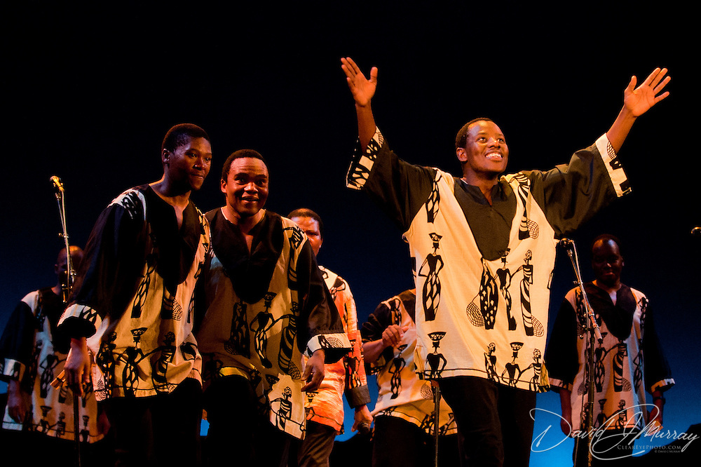 Ladysmith Black Mambazo member Ngane Dlamini (R)performing at The Music Hall, Portsmouth, NH