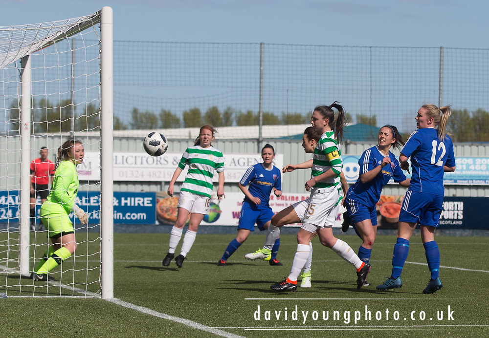 Forfar Farmington's Megan McCarthy hits the post with a header early in the match  - Celtic v Forfar Farmington in the SWPL Cup semi final at Falkirk, Falkirk Stadium,<br /> <br />  - &copy; David Young - www.davidyoungphoto.co.uk - email: davidyoungphoto@gmail.com