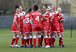 Bristol Academy players break from huddle ready to faces visitors Aston Villa Ladies - Photo mandatory by-line: Paul Knight/JMP - Mobile: 07966 386802 - 01/03/2015 - SPORT - Football - Bristol - Stoke Gifford Stadium - Bristol Academy Women v Aston Villa Ladies - Pre-season friendly