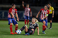 Atletico de Madrid´s Robles and Meseguer and Olympique Lyonnais´s Hegerberg during UEFA Women´s Champions League soccer match between Atletico de Madrid and Olympique Lyonnais, in Madrid, Spain. November 11, 2015. (ALTERPHOTOS/Victor Blanco)