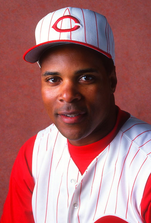 PLANT CITY, FLORIDA:  Barry Larkin of the Cincinnati Reds poses for a headshot during spring training in Plant City, Florida.  Larkin played for the Reds from 1986-2004.   (Photo by Ron Vesely)   Subject: Barry Larkin.