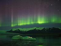 Northern Lights dancing over Jökulsárlón Glacial Lagoon, Southeast Iceland.