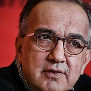 Milano, 4 gennaio 2016: Sergio Marchionne durante la conferenza stampa per il debutto del titolo Ferrari a Piazza Affari.