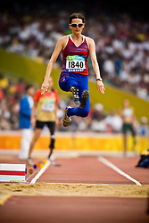 "Elin Holen of Norway competes in the women's F42 Long Jump during the Beijing 2008 Paralympic Games; National ""Bird's Nest"" Stadium, Beijing Olympic Green, China, 8th September 2008;"
