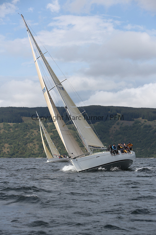 The Silvers Marine Scottish Series 2014, organised by the  Clyde Cruising Club,  celebrates it's 40th anniversary.<br /> Day 3, GBR4770R, Lady Rhona, Iain Cameron, CCC/FYC, First 47.7<br /> Racing on Loch Fyne from 23rd-26th May 2014<br /> <br /> Credit : Marc Turner / PFM