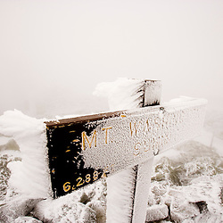 The rime-ice covered summit of Mount Washington in New Hampshire's White Mountains