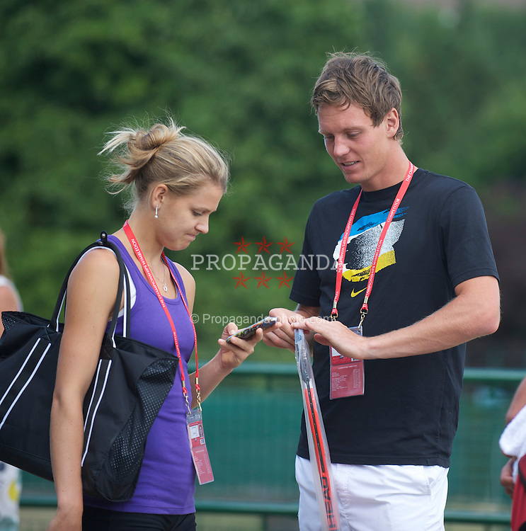 LONDON, ENGLAND - Saturday, July 3rd, 2010: Tomas Berdych (CZE) and his girlfriend Lucie Safarova pictured before practice ahead of his Men's Singles Final on day twelve of the Wimbledon Lawn Tennis Championships at the All England Lawn Tennis and Croquet Club. (Pic by David Rawcliffe/Propaganda)