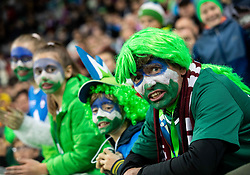 Supporters of Slovenia during the 2020 UEFA European Championships group G qualifying match between Slovenia and Latvia at SRC Stozice on November 19, 2019 in Ljubljana, Slovenia. Photo by Vid Ponikvar / Sportida