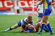 Doncaster RLFC scrum half Jordan Howden (6) gathers from Featherstone Rovers interchange Keal Carlile (9) kick  during the Challenge Cup 2018 match between Doncaster and Featherstone Rovers at the Keepmoat Stadium, Doncaster, England on 22 April 2018. Picture by Simon Davies.