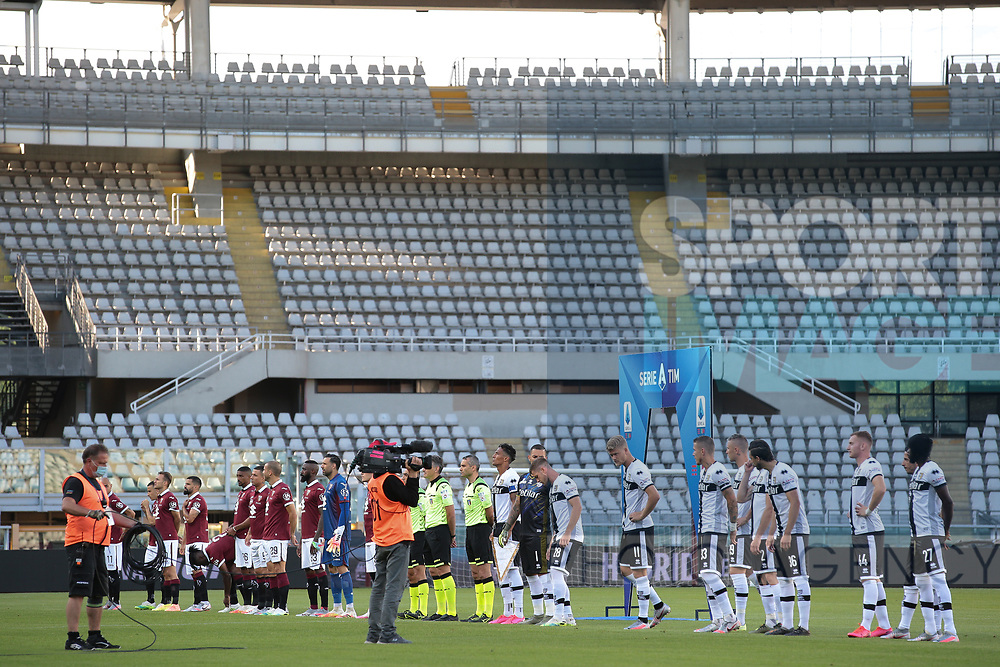 The TV crew films the line up of players and officials before kick off of the Serie A match at Stadio Grande Torino, Turin. Picture date: 20th June 2020. Picture credit should read: Jonathan Moscrop/Sportimage