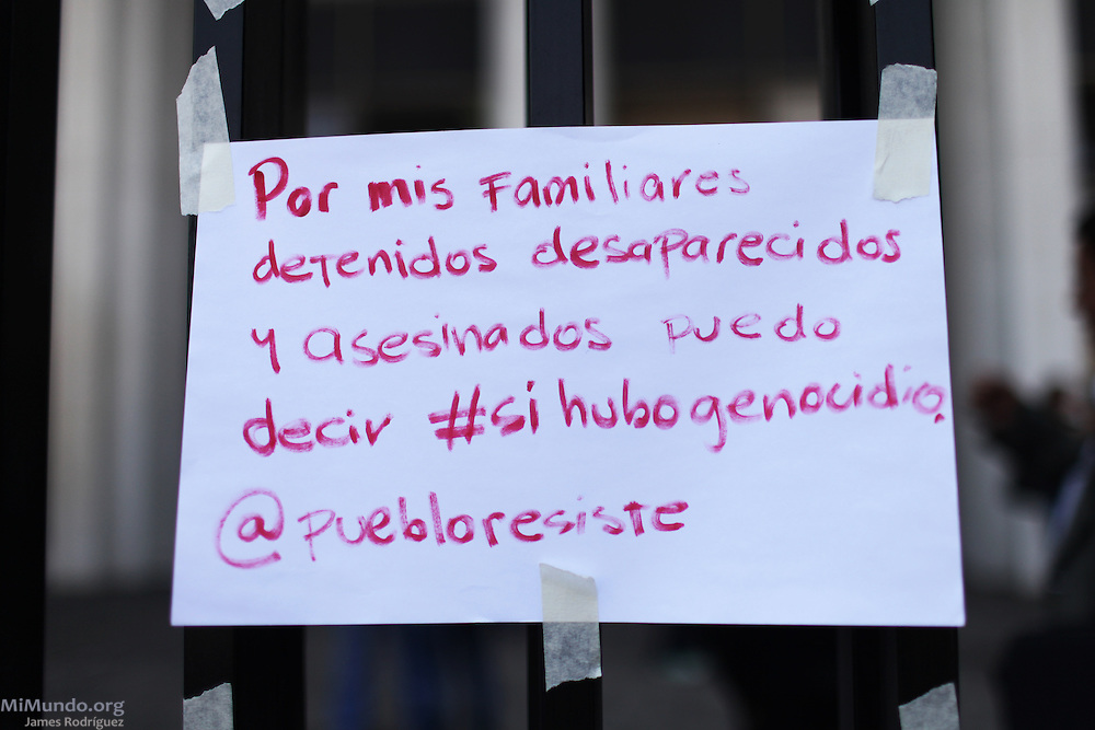 """Page quoting a tweet by @puebloresiste states: """"It is because of my detained-disappeared family members that I can clam #ThereWasGenocide"""". Rios Montt Genocide Trial. Guatemala, Guatemala. April 19, 2013."""
