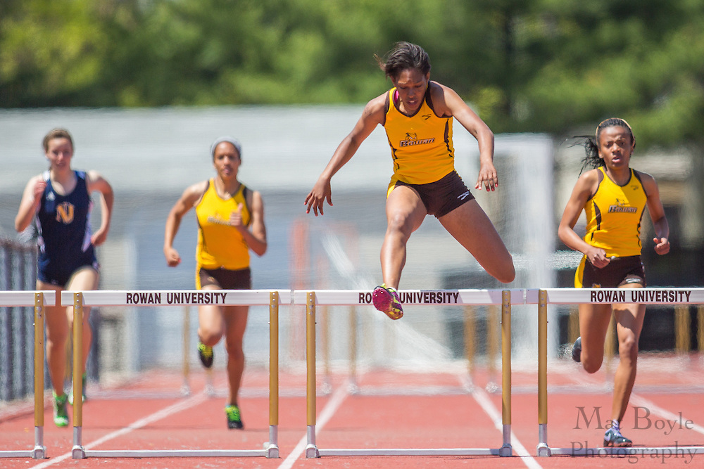 Rowan University's Jamie Thompson competes in the women's 400 meter hurdles at the NJAC Track and Field Championships at Richard Wacker Stadium on the campus of  Rowan University  in Glassboro, NJ on Sunday May 5, 2013. (photo / Mat Boyle)