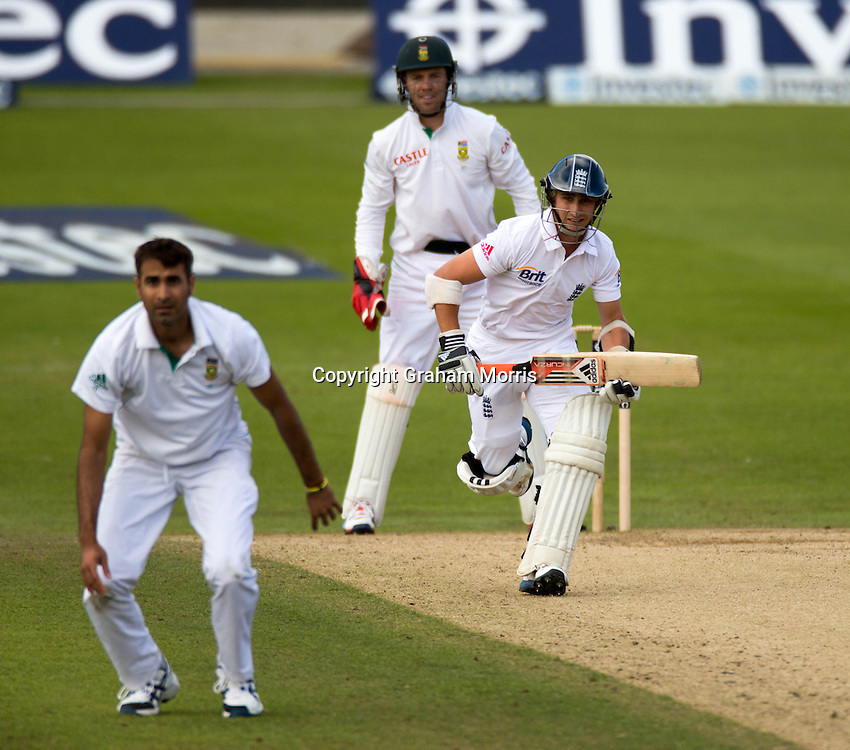 James Taylor drives Imran Tahir for four, his first runs on his debut, during the second Investec Test Match  Day 3  between England and South Africa at Headingley, Leeds. Photo: Graham Morris (Tel: +44(0)20 8969 4192 Email: sales@cricketpix.com) 04/08/12