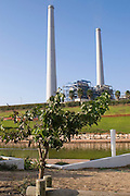 "Israel, Hadera the garden and Hadera river surrounding the ""Orot Rabin"" coal fueled power plant"