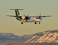 A Perimeter Aviation de havilland Dash 8-300 on final approach into Erik Nielsen Whitehorse International Airport