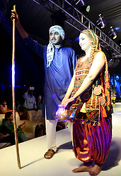 April 29, 2017 - Hyderabad, Sindh, Pakistan - New models walk on the ramp during the fashion show organized by the Next Star at a local hall in Hyderabad. Male and female models in a traditional costume walks. (Credit Image: © Janali Laghari/Pacific Press via ZUMA Wire)