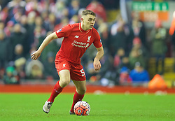 LIVERPOOL, ENGLAND - Wednesday, January 20, 2016: Liverpool's Connor Randall in action against Exeter City during the FA Cup 3rd Round Replay match at Anfield. (Pic by David Rawcliffe/Propaganda)