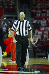 30 January 2011: Referee Rick Randall during an NCAA basketball game between the Drake Bulldogs and the Illinois State Redbirds. The Redbirds win in OT 77-75 after a last three point shot by Drake was ruled too late at Redbird Arena in Normal Illinois.