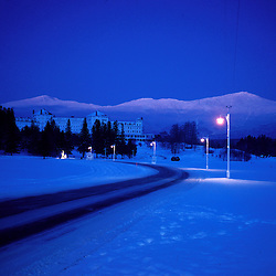 Dusk falls on Mt. Washington, New England's tallest mountain. Winter. White Mountains. Presidential Range.
