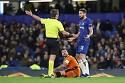 Olivier Giroud of Chelsea (18) protesting his innocence after fouling Vierinha of PAOK FC (20) during the Champions League group stage match between Chelsea and PAOK Salonica at Stamford Bridge, London, England on 29 November 2018.
