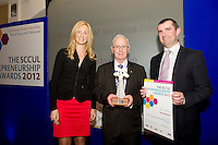 "In the SCCUL Entrepreneurship AWARDS 2012  Category Awards ""Professional Services"" announced by.Michelle Murphy President BPW Galway presented by John Lenihan Board Member SCCUL Enterprises Ltd..to winner.Patrick McDermott of Stocktaking.ie. PIcture:Andrew Downes"