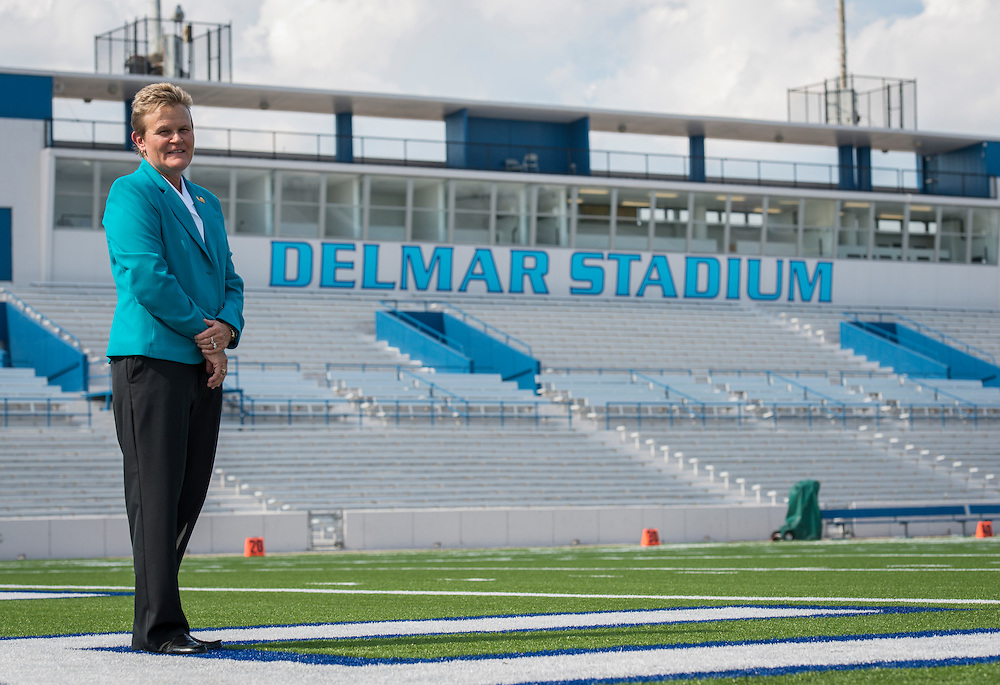 Marmion Dambrino poses for a photograph at Delmar Stadium, September 24, 2015.