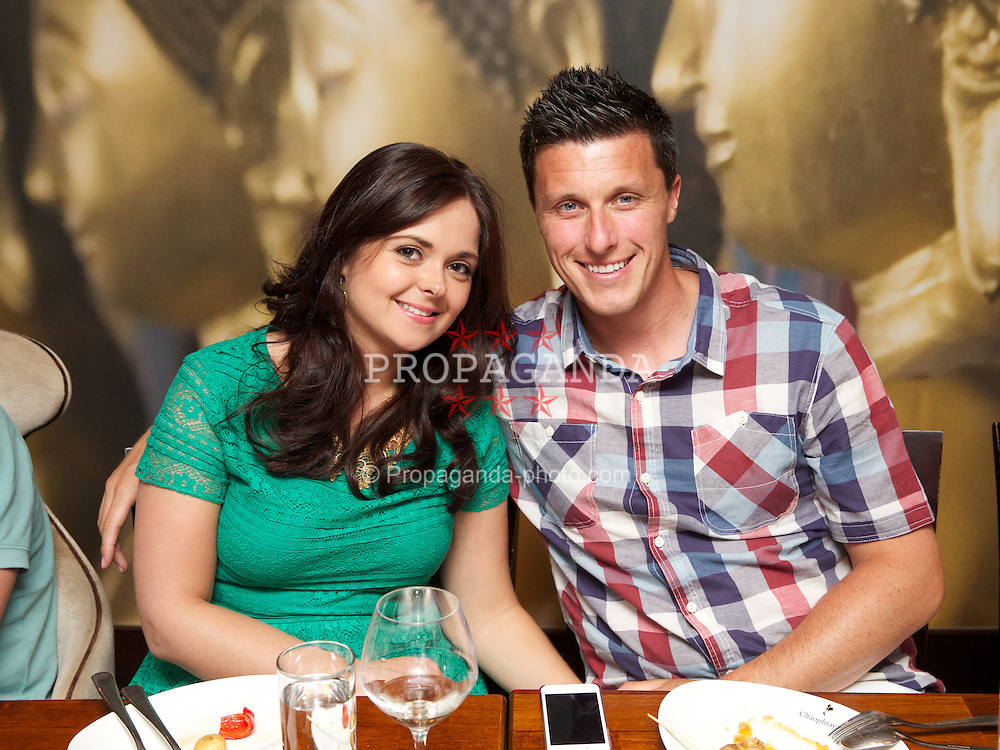LIVERPOOL, ENGLAND - Friday, June 21, 2013: Ken Skupski and wife Hayley enjoy a night out at Chaophraya during Day Two of the Liverpool Hope University International Tennis Tournament at Calderstones Park. (Pic by David Rawcliffe/Propaganda)