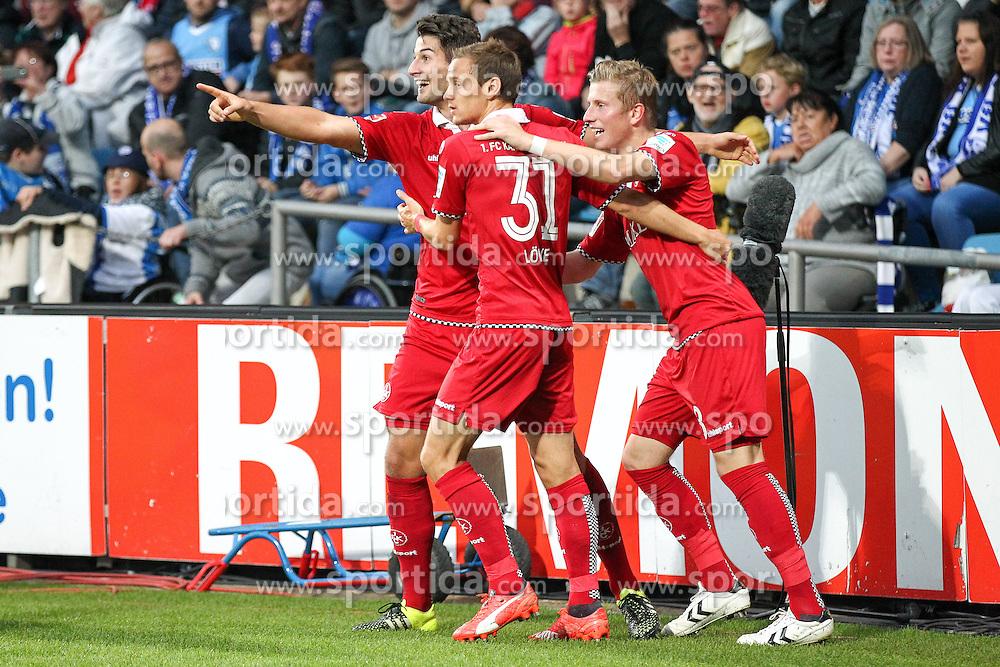 25.09.2015, Rewirpower Stadion, Bochum, GER, 2. FBL, VfL Bochum vs 1. FC Kaiserslautern, 9. Runde, im Bild Jubel v.l. Marcus Piossek (#8, 1. FC Kaiserslautern) (Torschuetze) mit Antonio Colak (#10, 1. FC Kaiserslautern) und Chris Loewe (#31, 1. FC Kaiserslautern) ueber das 0zu2 // during the 2nd German Bundesliga 9th round match between VfL Bochum and 1. FC Kaiserslautern at the Rewirpower Stadion in Bochum, Germany on 2015/09/25. EXPA Pictures &copy; 2015, PhotoCredit: EXPA/ Eibner-Pressefoto/ Deutzmann<br /> <br /> *****ATTENTION - OUT of GER*****