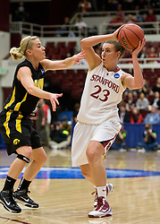 March 22, 2010; Stanford, CA, USA;  Stanford Cardinal guard Jeanette Pohlen (23) is guarded by Iowa Hawkeyes guard Jaime Printy (24) during the first half in the second round of the 2010 NCAA womens basketball tournament at Maples Pavilion. Stanford defeated Iowa 96-67.