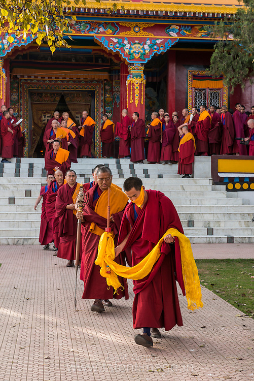 H.E.the Menri ponlop Rinpoche the supreme teacher of the monastery is leading the circumambulating in a religious ceremony at the Tibetan YungDrung Bon Monastery at Dolanji.