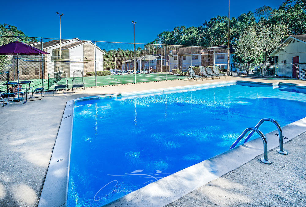 The swimming pool at Four Seasons apartments is pictured, Nov. 24, 2015, in Mobile, Alabama. The apartment complex, managed by Sealy Management Co., is located on East Drive. (Photo by Carmen K. Sisson/Cloudybright)